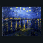 """Van Gogh Starry Night Over The Rhone Postcard<br><div class=""""desc"""">Van Gogh Starry Night Over the Rhone postcard. Oil painting on canvas from 1888. One of van Gogh's most beloved night landscapes, Starry Night Over the Rhone captures the night sky bursting over the eastside quay of the French town of Arles. A great gift for fans of van Gogh, post-impressionism,...</div>"""