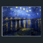 "Van Gogh Starry Night Over The Rhone Postcard<br><div class=""desc"">Van Gogh Starry Night Over the Rhone postcard. Oil painting on canvas from 1888. One of van Gogh's most beloved night landscapes, Starry Night Over the Rhone captures the night sky bursting over the eastside quay of the French town of Arles. A great gift for fans of van Gogh, post-impressionism,...</div>"