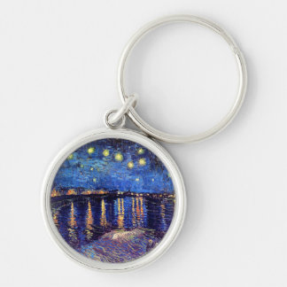 Van Gogh - Starry Night Over The Rhone Silver-Colored Round Keychain