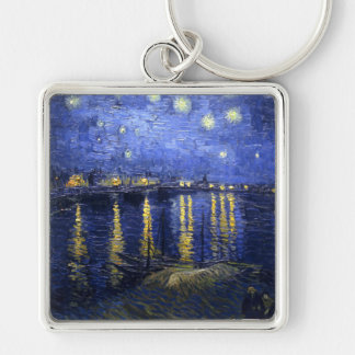 Van Gogh: Starry Night Over the Rhone Silver-Colored Square Keychain