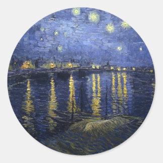 Van Gogh Starry Night Over the Rhone Classic Round Sticker