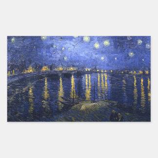 Van Gogh: Starry Night Over the Rhone Rectangular Sticker