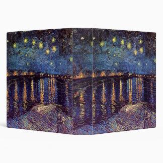 Van Gogh Starry Night Over the Rhone, Vintage Art 3 Ring Binders
