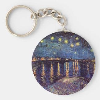 Van Gogh Starry Night Over the Rhone, Vintage Art Basic Round Button Keychain