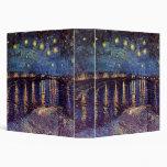 Van Gogh Starry Night Over the Rhone, Vintage Art 3 Ring Binder