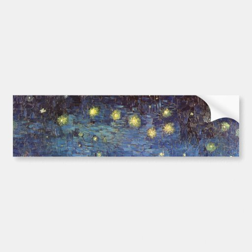 Van Gogh; Starry Night Over the Rhone, Vintage Art Bumper Sticker