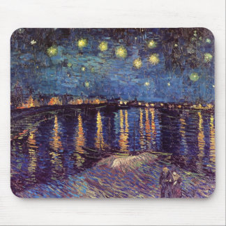 Van Gogh Starry Night Over the Rhone, Vintage Art Mouse Pad