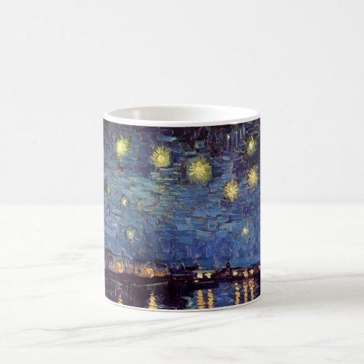 Van Gogh Starry Night Over the Rhone, Vintage Art Classic White Coffee Mug