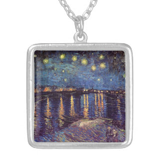Van Gogh Starry Night Over the Rhone, Vintage Art Square Pendant Necklace
