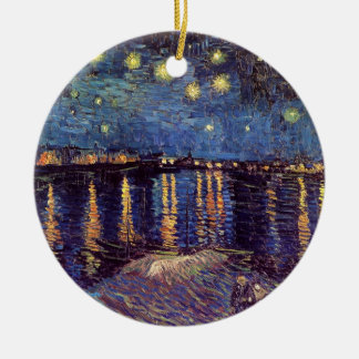 Van Gogh Starry Night Over the Rhone, Vintage Art Double-Sided Ceramic Round Christmas Ornament