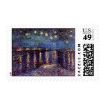 Van Gogh Starry Night Over the Rhone, Vintage Art Postage Stamp