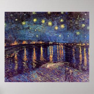 Van Gogh Starry Night Over the Rhone, Vintage Art Poster