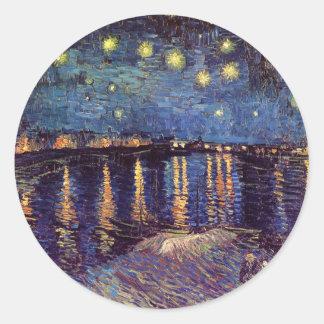 Van Gogh Starry Night Over the Rhone, Vintage Art Classic Round Sticker