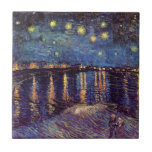 Van Gogh Starry Night Over the Rhone, Vintage Art Small Square Tile