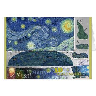 Van Gogh Starry Night Paper Craft 3D Card