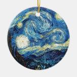Van Gogh Starry Night Peace Love Destiny Double-Sided Ceramic Round Christmas Ornament