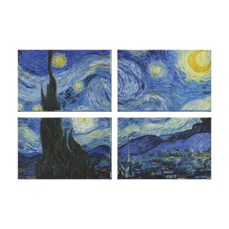Van Gogh Starry Night Premium XL Quad Canvas Print