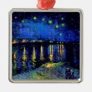 Van Gogh Starry Night Rhone (F474) Fine Art Square Metal Christmas Ornament