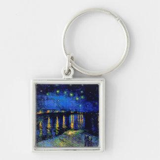 Van Gogh Starry Night Rhone (F474) Fine Art Silver-Colored Square Keychain