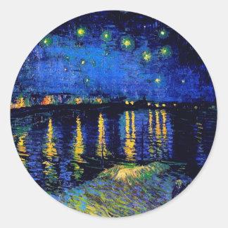 Van Gogh Starry Night Rhone (F474) Fine Art Classic Round Sticker