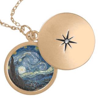 Van Gogh Starry Night Round Locket Necklace