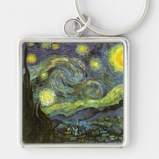 Van Gogh: Starry Night Silver-Colored Square Keychain