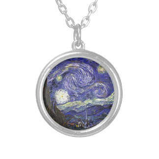 Van Gogh Starry Night Silver Plated Necklace