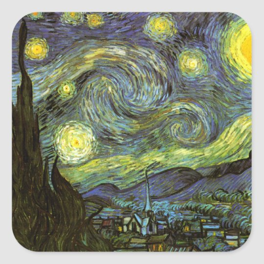 Van Gogh: Starry Night Square Sticker