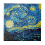 "Van Gogh Starry Night Tile<br><div class=""desc"">Van Gogh Starry Night tile. Van Gogh's most famous painting, Starry Night depicts the view from the artist's bedroom window at the asylum in Saint Remy de Provence. A beautiful night sky punctuated by yellow stars pulsing above the village church below, Starry Night is a great gift for fans of...</div>"