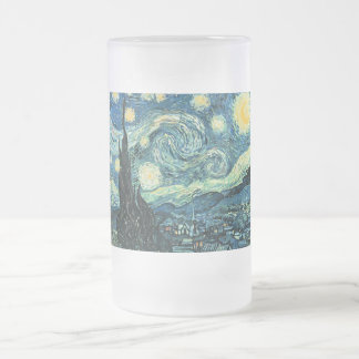 Van gogh starry night vector 16 oz frosted glass beer mug