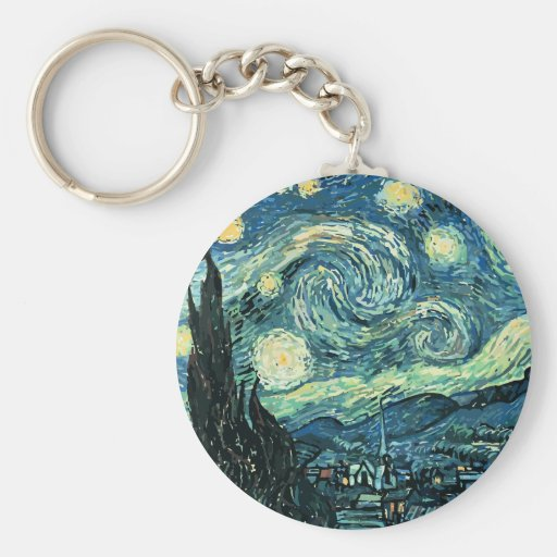 Van gogh starry night vector keychain