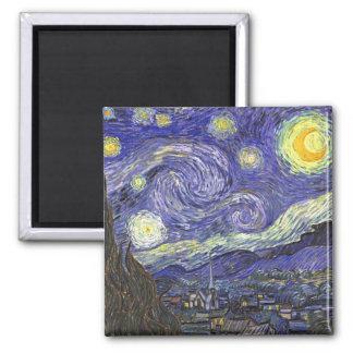Van Gogh Starry Night, Vintage Fine Art Landscape 2 Inch Square Magnet