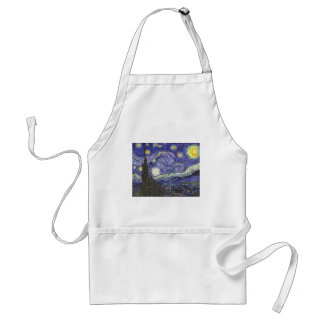 Van Gogh Starry Night, Vintage Fine Art Landscape Adult Apron