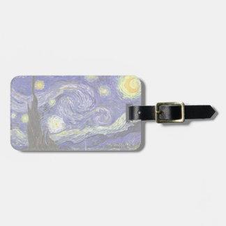 Van Gogh Starry Night, Vintage Fine Art Landscape Bag Tag