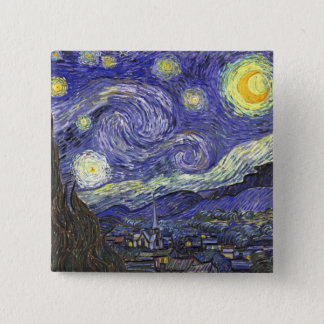 Van Gogh Starry Night, Vintage Fine Art Landscape Button