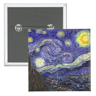 Van Gogh Starry Night, Vintage Fine Art Landscape Button