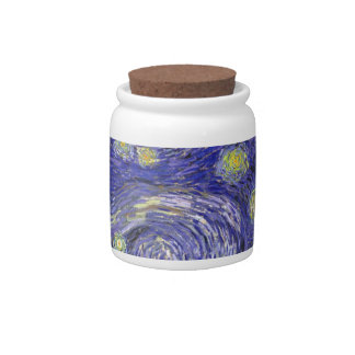 Van Gogh Starry Night, Vintage Fine Art Landscape Candy Dish
