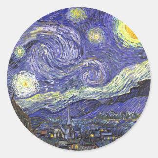 Van Gogh Starry Night, Vintage Fine Art Landscape Classic Round Sticker