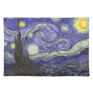 Van Gogh Starry Night, Vintage Fine Art Landscape Cloth Placemat