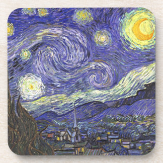 Van Gogh Starry Night, Vintage Fine Art Landscape Coaster