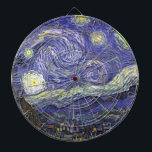 "Van Gogh Starry Night, Vintage Fine Art Landscape Dart Board<br><div class=""desc"">Starry Night by Vincent van Gogh is a vintage fine art post impressionism landscape cityscape painting featuring a view of Saint Remy, France from van Gogh&#39;s asylum. The night sky is swirling with clouds with a bright crescent moon and shining stars over the quaint village. Starry Night is probably van...</div>"