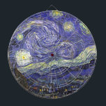 """Van Gogh Starry Night, Vintage Fine Art Landscape Dart Board<br><div class=""""desc"""">Starry Night by Vincent van Gogh is a vintage fine art post impressionism landscape cityscape painting featuring a view of Saint Remy, France from van Gogh&#39;s asylum. The night sky is swirling with clouds with a bright crescent moon and shining stars over the quaint village. Starry Night is probably van...</div>"""