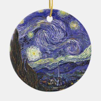 Van Gogh Starry Night, Vintage Fine Art Landscape Double-Sided Ceramic Round Christmas Ornament