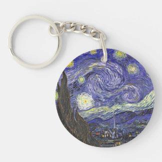 Van Gogh Starry Night, Vintage Fine Art Landscape Double-Sided Round Acrylic Keychain