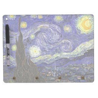 Van Gogh Starry Night, Vintage Fine Art Landscape Dry Erase Board With Keychain Holder