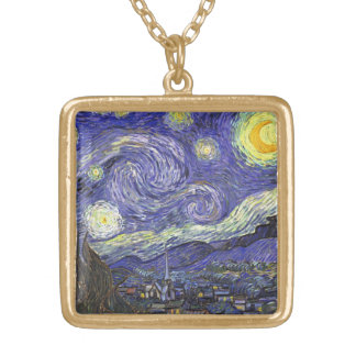 Van Gogh Starry Night, Vintage Fine Art Landscape Gold Plated Necklace