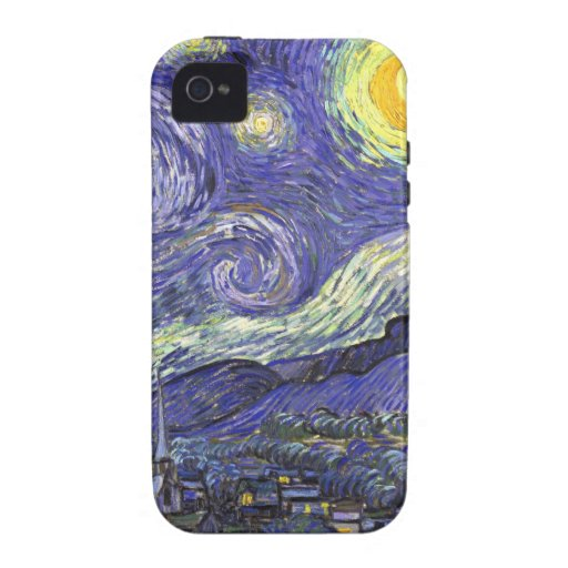 Van Gogh Starry Night, Vintage Fine Art Landscape iPhone 4 Covers