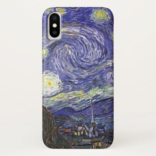 Van Gogh Starry Night, Vintage Fine Art Landscape iPhone X Case