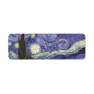 Van Gogh Starry Night, Vintage Fine Art Landscape Label