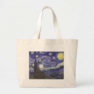 Van Gogh Starry Night, Vintage Fine Art Landscape Large Tote Bag
